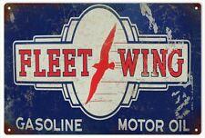 Reproduction Fleet-Wing Gasoline Motor Oil Garage Art Sign
