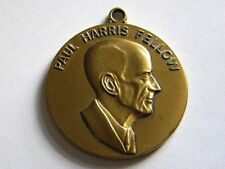 ANTIQUE GOLDEN METAL MEDALLION COMMEMORATIVE FOUNDER ROTARY CLUB PAUL HARRIS