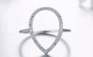 925 Solid Sterling Silver Teardrop Ring, Open Circle Ring, Stacking Ring, UK Q