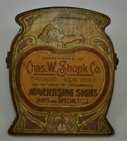 """Art Nouveau """"Chas. W. Shonk Co. ADVERTISING SIGNS"""" Paper Clip from early 1900's"""