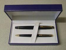 "Boxed Glossy Black WATERMAN Fountain Pen - Fine two-tone Nib and Ballpoint ""Set"""