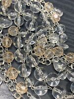 """Ladies Clear bubble  Lucite Silver retro Long Sweater Length Necklace 40"""""""