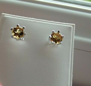 CITRINE GEMSTONE 5.0 mm / 2ct ROUND CUT STERLING SILVER STUD EARRINGS NEW QVC