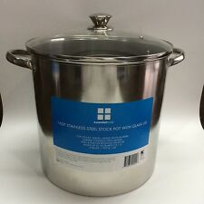 Stainless Steel Stockpot 16-Quart Glass Lid Stovetop Large Pot Pasta Soups Stew