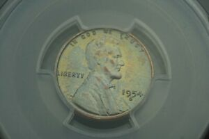 Rainbow Toned -- 1954-S 1c PCGS MS65RED Lincoln Wheat Penny Cent #RT27
