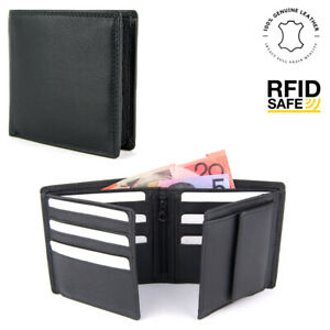 Genuine Leather Mens Wallet Large Bifold Coin Purse 15 Card Slots Window ID RFID