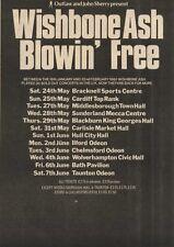 WISHBONE ASH BLOWIN' FREE TOUR DATES ADVERT 15X11
