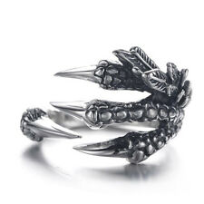 Punk Rock Silver Stainless Steel Adjustable Dragon Claws Band Men Women's Ring