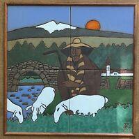 Vintage 60s Shepherd Ceramic Tile Wall Hanging Art Mid Century Modern Signed