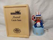 Steinbach Nutcracker Uncle Sam Musical NIB Wood Box Star Stripe Forever Wind Up