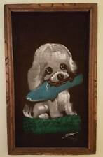 Vintage Brown Velvet Wood Framed Painting Puppy Dog W/ Slipper 22 X 13