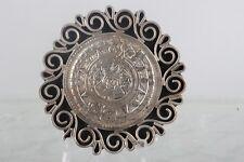 Brooch/ Pendant Mexico 925 Fine 5058B Tv-11 Taxco Mexico Sterling Aztec Calendar