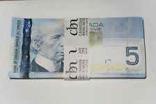 100X Bank of Canada $5 Uncirculated & Sequential Notes Canadian Bill Paper Money