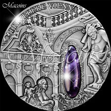 WINTER PALACE BELVEDERE VIENNA 2015 Niue Island 2$ Silver Coin with Amethyst