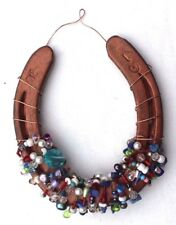 Vtg Wall Hanging Decorative Decor Copper Wire W/ Colorful Beads Horseshoe