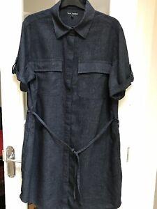 NEXT Petite Linen Blend Short Sleeve Dress In Dark Grey Size 16P