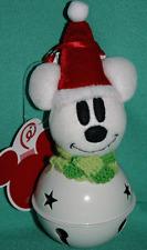 DISNEY PARK SANTA MICKEY MOUSE SNOWMAN LARGE METAL BELL CHRISTMAS ORNAMENT NEW