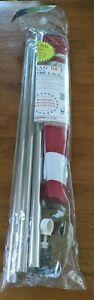 US American Flag Kit 3x5 ft 6 Foot Steel Pole Bracket Poly Cotton USA Set NEW