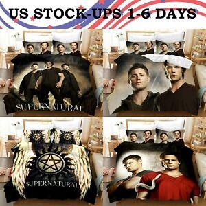 USA Stock Supernatural SPN 3PCS Duvet Cover Pillowcases Bedding Comforter Cover