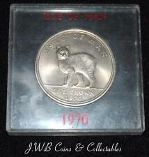 1970 Isle Of Man 1 One Crown Coin - Manx Cat