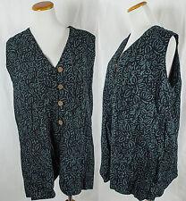 Vintage Batik Rayon Button Up Lips Pattern Vest!! Size L