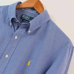 Mens Polo Ralph Lauren Blue Gingham Custom Fit Long Sleeve Shirt Size L Large