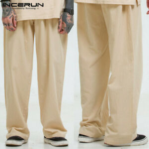 Mens Cotton Linen Casual Loose Pants Beach Yoga Elasticated Waist Trousers Slack