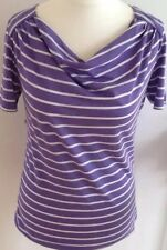 CREW CLOTHING 12 ladies vgc purple white stripe cowl neck long t-shirt tunic top