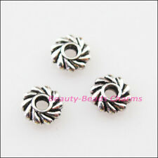 100Pcs Tibetan Silver  Tone Flower Gear Spacer Beads Charms 5mm