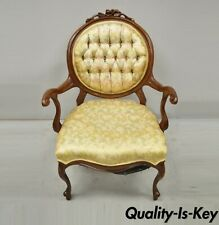 Vintage Victorian Style Cherry Wood Upholstered Parlor Arm Chair by Victorian
