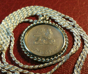 "1944 Lion of Judah Ethiopian Silver Coin Pendant & 24"" Italy Silver Rope Chain"