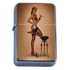 Windproof Refillable Fliptop Oil Lighter Classic Vintage Model Pin Up Girl D-068