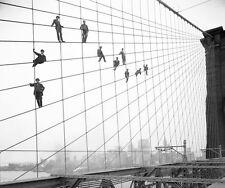 A3 SIZE - Brooklyn Bridge Painters New York Circa 1914 B-W Photo Print POSTER
