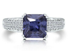 Cubic Zirconia Solitaire Ring Sterling Silver Princess Blue
