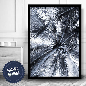 ABSTRACT Palm Coconut Tree Gallery Wall Art PRINT Navy Blue Poster