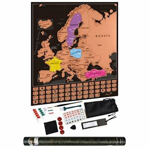 Travel Tracker Large Scratch Off World Map Detailed Poster Europe Flags 60*70CM