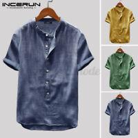 Hommes T-shirt décontracté à manches courtes 100% coton col V Chemises hauts tee