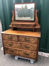 Antique carved Burr Walnut dressing table - chest of drawers - vanity unit