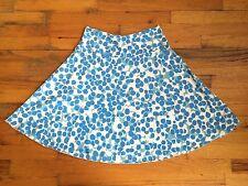 Virginia Johnson Cotton Modal Blue White Skater Skirt Jersey Knit Sz M PERFECT