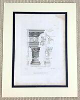 1825 Antik Gravierung Korinthische Säule Auftrag Architektur Aufdruck Alte Greek