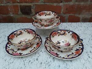 Masons Ironstone Blue Mandalay soup cups & saucers *cups A/F*