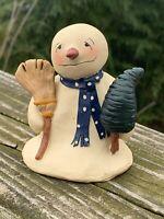 Vintage Handmade SNOWMAN & BROOM & SCOTCH PINE Christmas Tree Figurine 3/3 ❤️m9