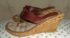 Burberry Brown Leather Thong Wedge Espadrille Sandal Sz 35