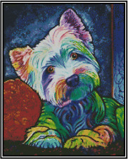 Cross Stitch Chart Pop Art Colorful WEST HIGHLAND TERRIER  #16-158 (Large Print)