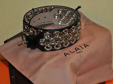 Authentic New Azzedine Alaia Wide Eyelet Embellished Black Leather Waist Belt,80