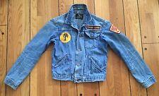 Vintage Maverick Blue Bell Kids Indigo Denim Jean Jacket Original Patches Sz 14