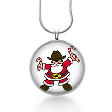 Cowboy santa christmas pendant with candy cane - holiday jewelry for her