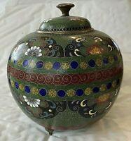 """Antique/Vintage Japanese Cloisonne  Lidded Jar. 3 feet. 5""""d,5""""h  #3"""