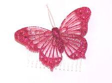FAB Grande Rosso Glitter gossimer Fascinator Con Farfalla, Decorazione per Capelli
