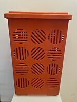 VINTAGE 70S 80S ANCIEN GRAND PANIER A LINGE 65CM EN PLASTIQUE ORANGE CORBEILLE